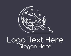 Night - Outdoor Night Camping logo design