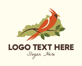 State - Cardinal Bird Kentucky Map logo design