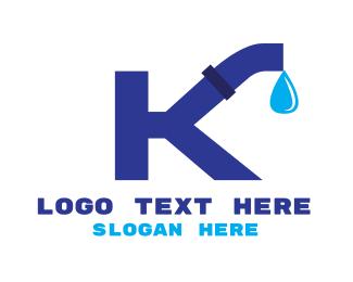 Plumbing - Plumbing Water Pipe Letter K logo design