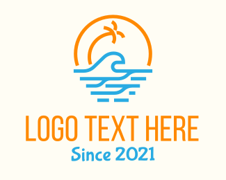 Sunshine Coast - Tropical Tree Beach Waves  logo design