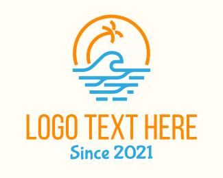 Lifeguard - Tropical Tree Beach Waves logo design