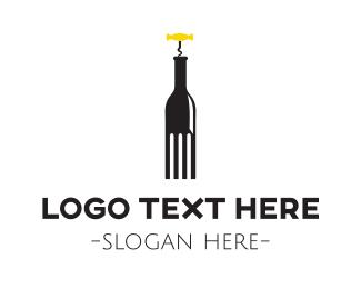 Wine Bottle - Fork & Bottle logo design