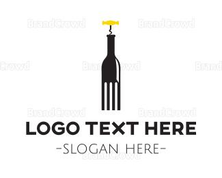 Brunch - Fork & Bottle logo design