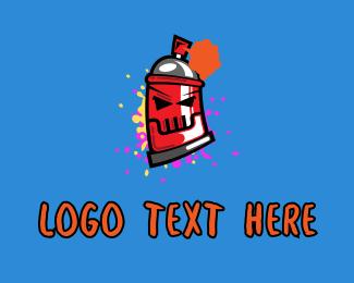 Art Studio - Angry Spray Can  logo design