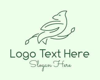 Line Art - Green Bird Line Art logo design