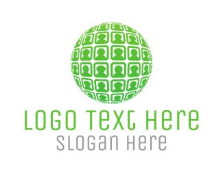 Ball - Globe & People logo design