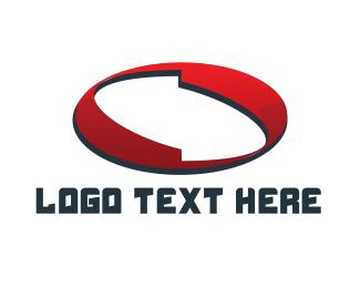 Number 0 - Red Abstract Ellipse logo design