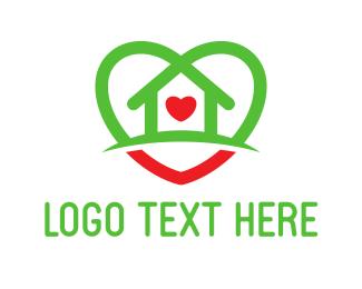 Donation Center - House Heart logo design