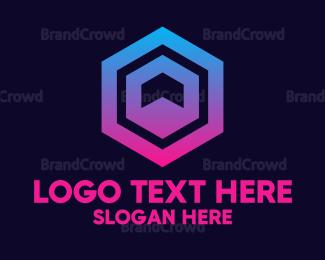 Flat - Gradient Hexagon Pattern logo design