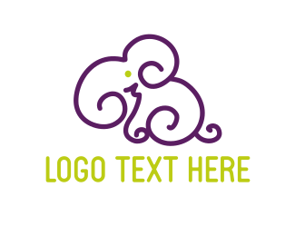 Trunk - Curved Elephant logo design