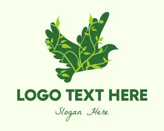 Green Bird - Green Eco Dove logo design