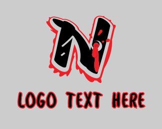 Splatter - Splatter Graffiti Letter N logo design