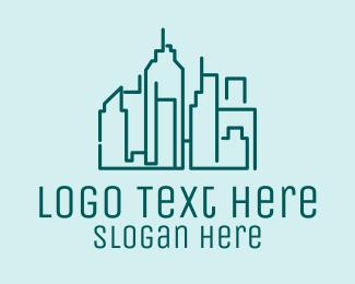 Blue Green - Urban Building Skyline  logo design