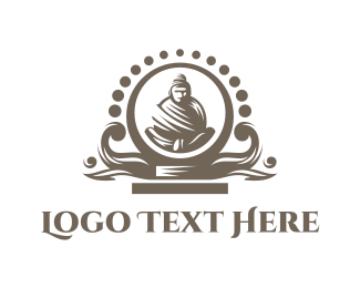 Hindu - Black Buddha  Altar logo design