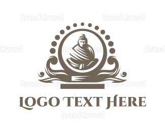 India - Black Buddha  Altar logo design