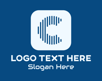 Music Streaming - Blue Music Streaming Letter C logo design