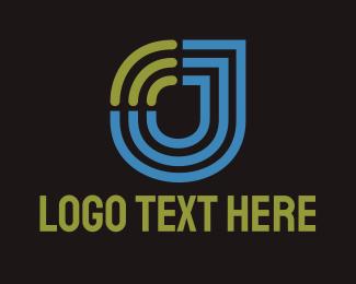 Wifi Letter J Tech Logo