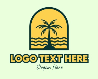 Paradise - Coconut Island Badge logo design