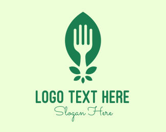 Eating - Green Salad Leaf Fork logo design