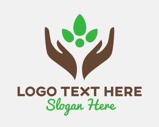 Agriculturist - Eco Hands Plant logo design