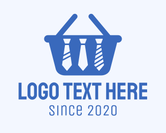 Basket - Blue Necktie Shopping Basket logo design
