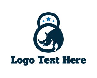 Rhinoceros - Kettlebell Rhino logo design