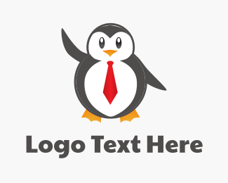 Customer Service - Cute Penguin logo design