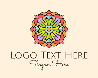 Event Celebration - Floral Stained Glass logo design