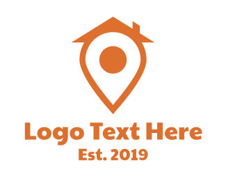 North - Orange Pin House logo design