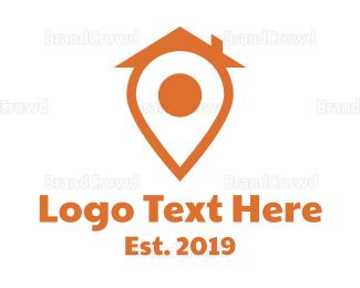 Map - Orange Pin House logo design