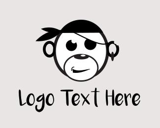 Chimpanzee - Pirate Monkey logo design