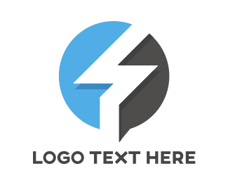 Solution - Blue Gray Flash Outline  logo design
