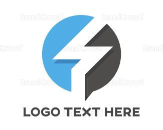 Blue And Gray - Blue Gray Flash Outline  logo design