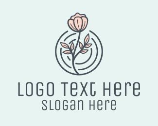 Peony - Pink Flower Badge logo design
