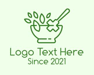 Leaf - Medical Herb Outline logo design