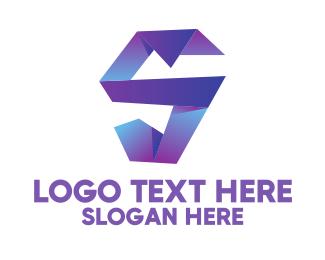Office Supplies - Purple 3D Origami Letter S logo design