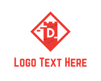 Letter D - Red Tower logo design