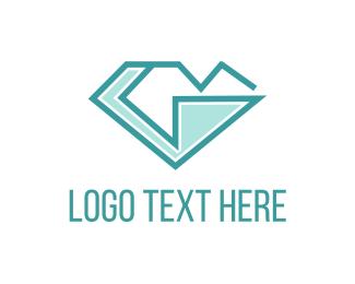 Gemstone - Blue G Diamond logo design