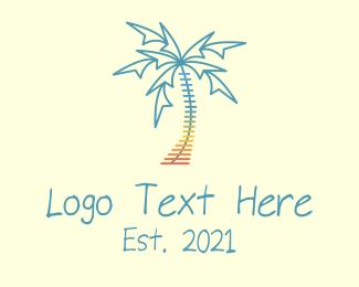 Summer Vacation - Beach Palm Tree Music logo design
