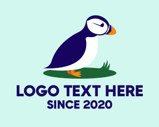 Grass - Cute Puffin Bird logo design