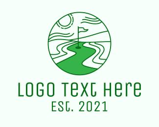 Golf Course - Golf Course Scenery logo design