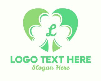Good Luck - Clover Heart Letter logo design