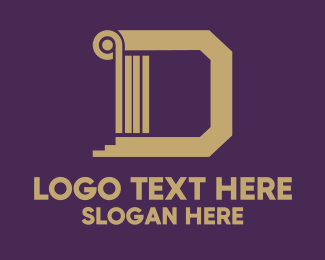 Tan - Golden Letter D logo design