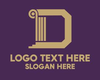 Column - Golden Letter D logo design
