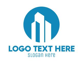 Corporation - Blue Corporate Skyscraper Building logo design