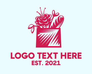 Picnic - Pink Flower Basket Delivery logo design