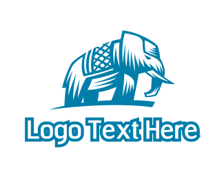 Hinduism - Blue Abstract Elephant logo design