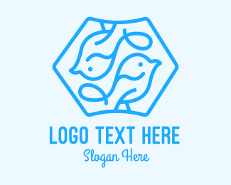 Goldcrest - Blue Symmetrical Bird logo design