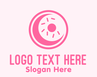 French Pastry - Pink Donut Moon logo design