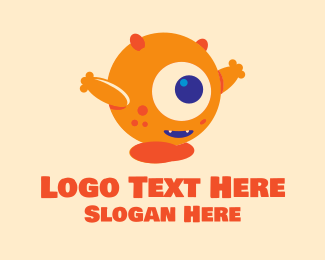 Mythical - Cute Orange Cyclops  logo design